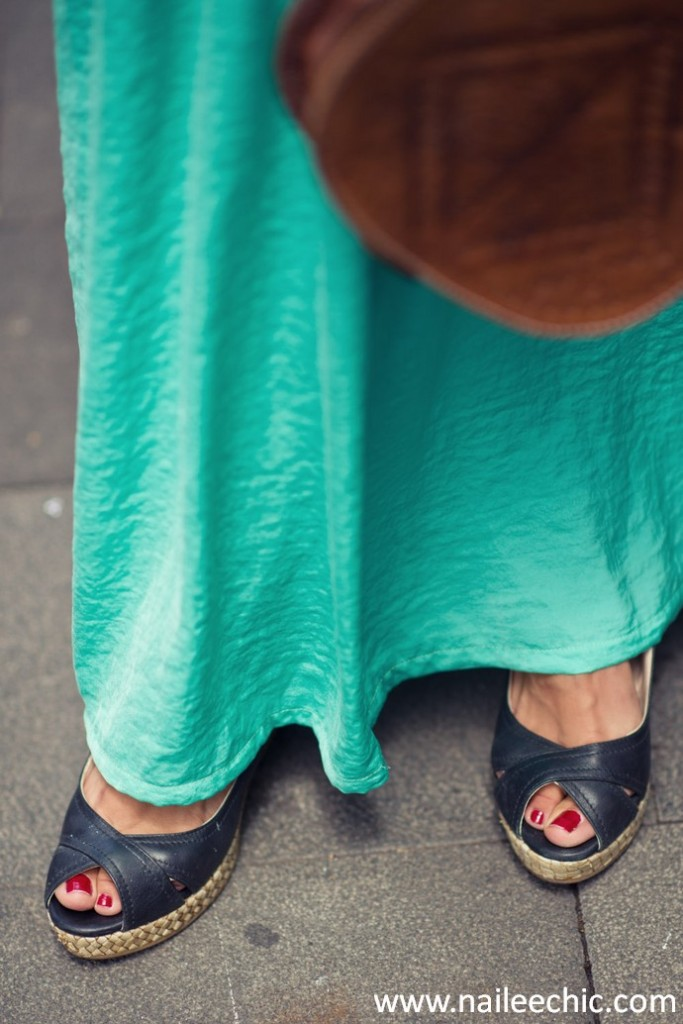 falda larga chaqueta vaquera verde agua salmon