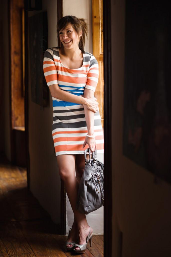 vestido rayas naranja azul vero moda (4)