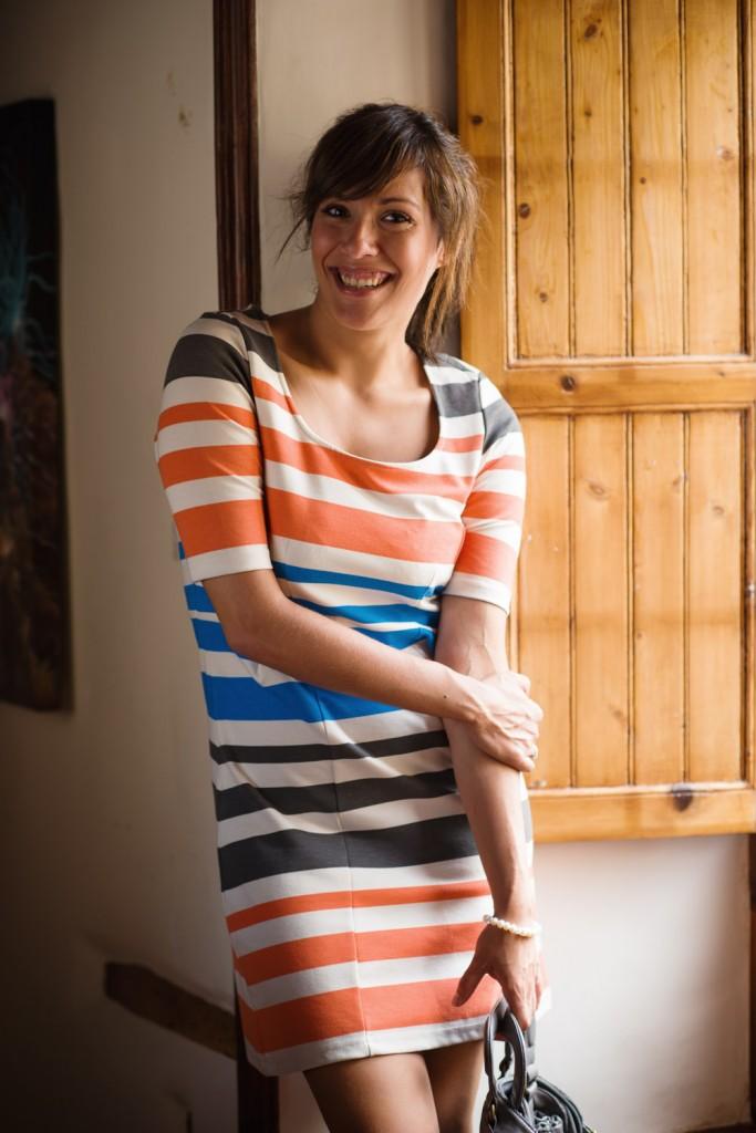 vestido rayas naranja azul vero moda (5)