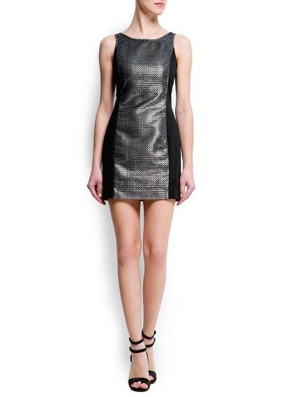 vestido negro metalizado de mang