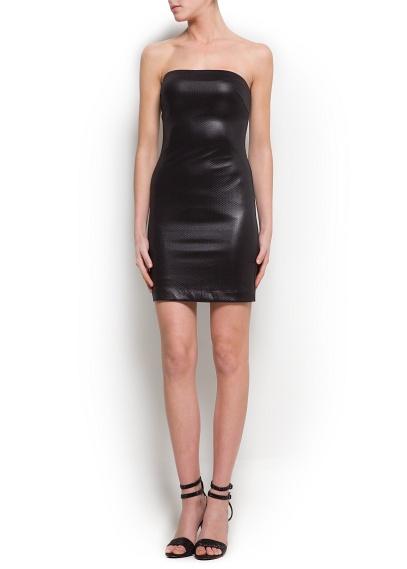 vestido piel negro mango