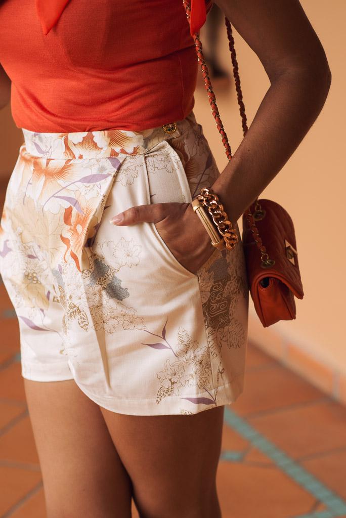 look short vintage blusa naranja cadenas mini bolso chanel mango (10)