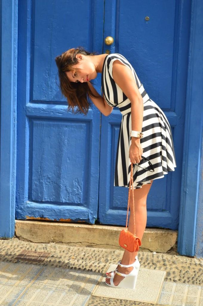 look skater blanco negro vestido naranja blogger tenerife (4)