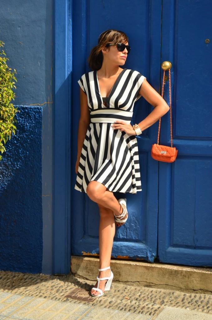 look skater blanco negro vestido naranja blogger tenerife