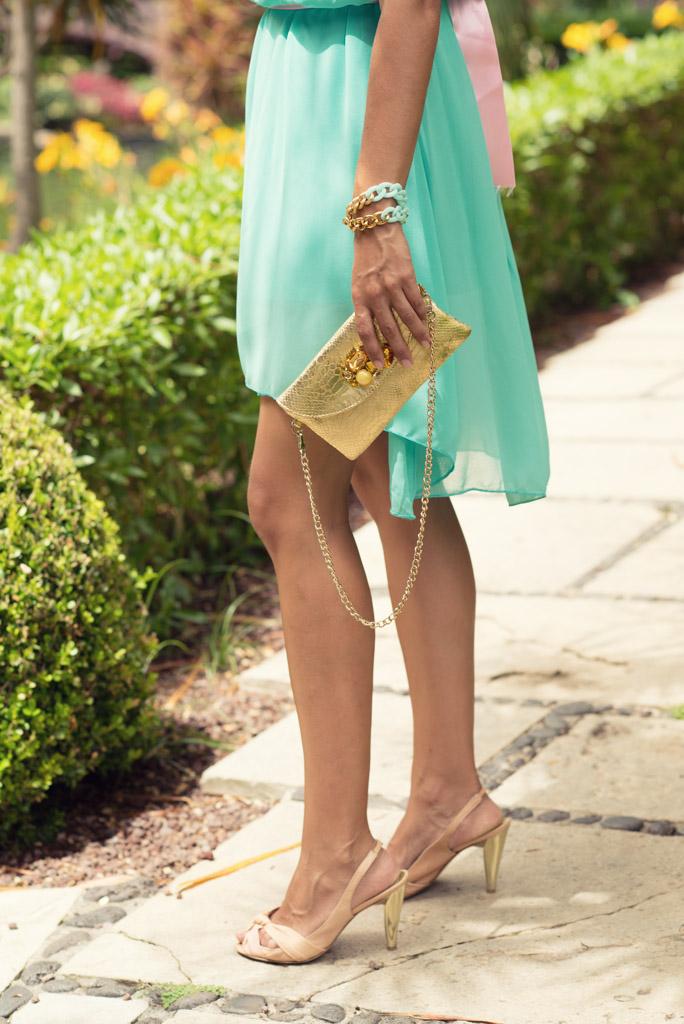 look vestido azul verde sirena pulseras cadenas teria yabar  miss fashionista (9)