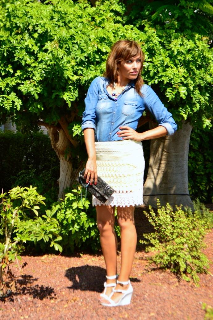 look falda encaje amarilla villa denim pvc zapatos _0700
