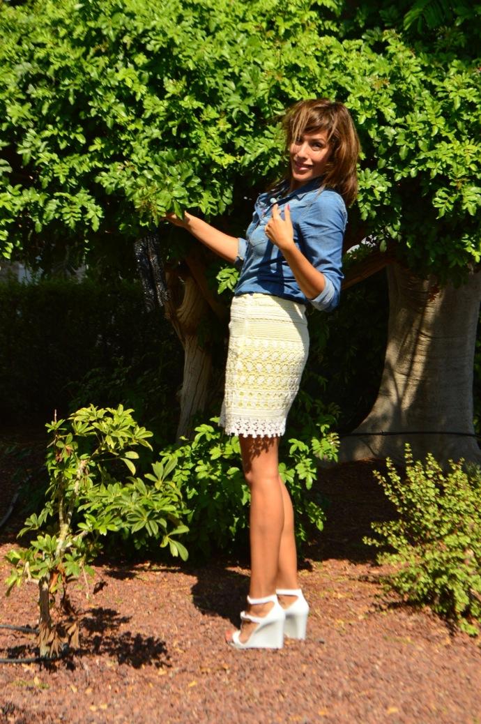 look falda encaje amarilla villa denim pvc zapatos _0702