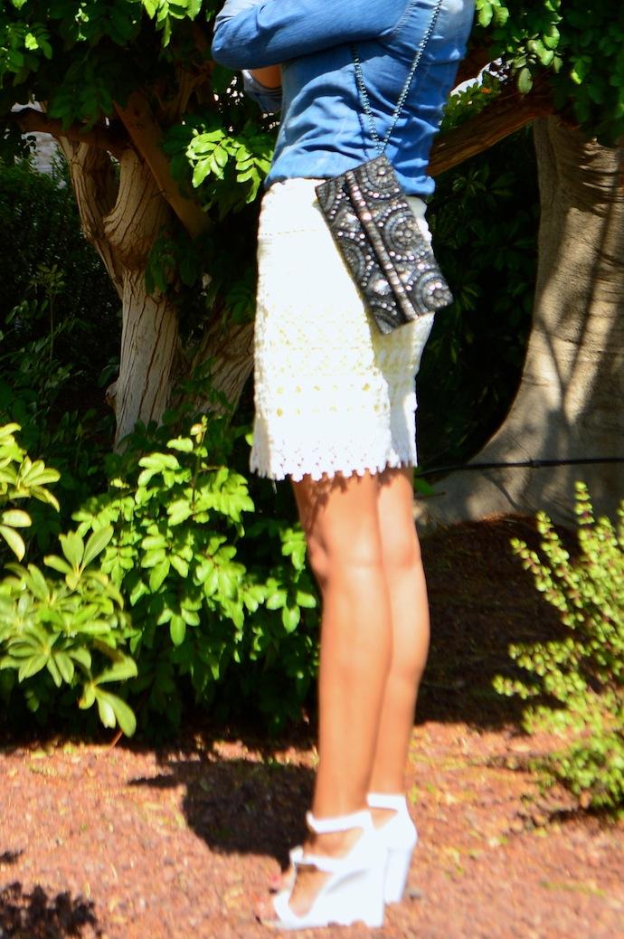 look falda encaje amarilla villa denim pvc zapatos _0714