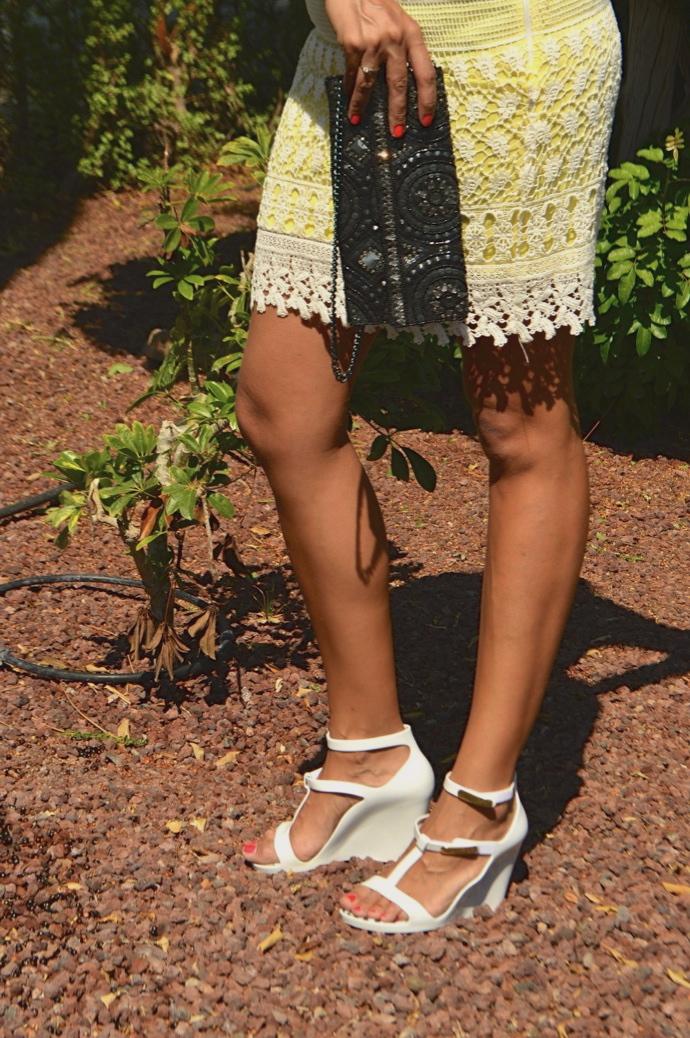 look falda encaje amarilla villa denim pvc zapatos _0708