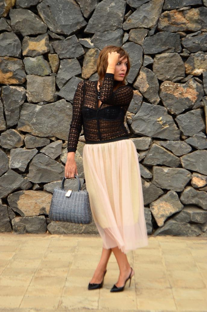 look tutu dorado nude cardigan calado maxi collar vintage fashionista _0624