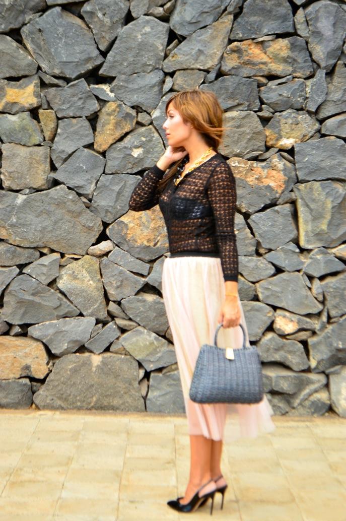 look tutu dorado nude cardigan calado maxi collar vintage fashionista _0645