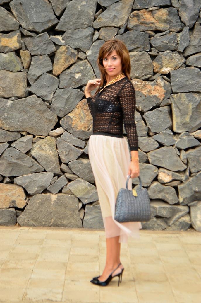 look tutu dorado nude cardigan calado maxi collar vintage fashionista _0631