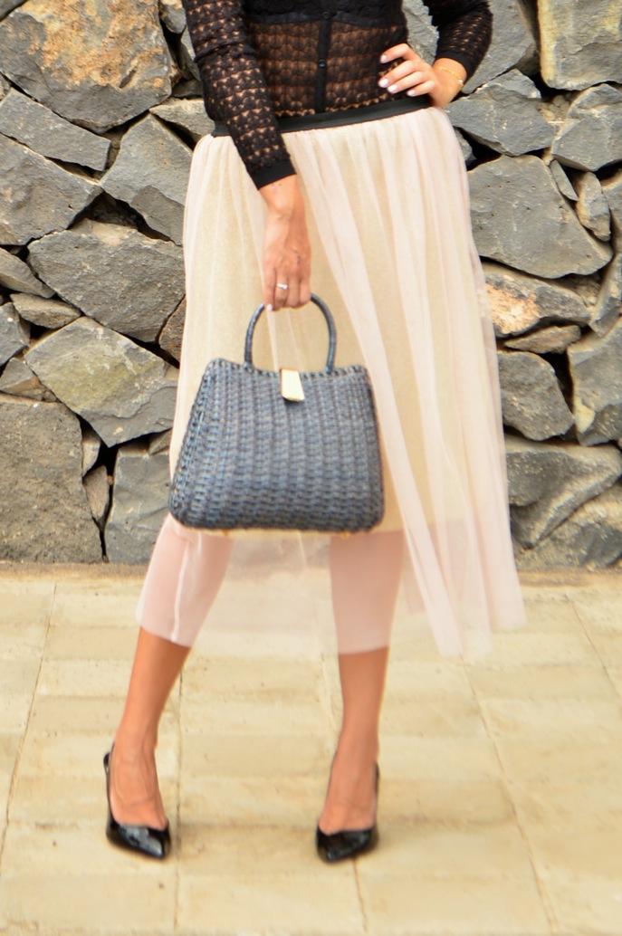 look tutu dorado nude cardigan calado maxi collar vintage fashionista _0638