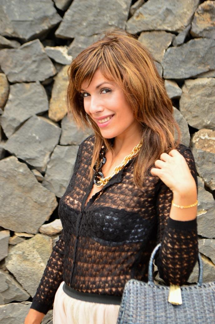 look tutu dorado nude cardigan calado maxi collar vintage fashionista _0639