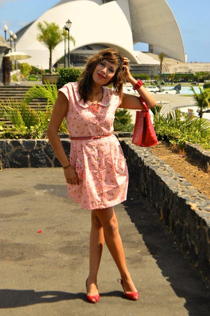 look vestido diksi naif rosa cinderella bolso rojo furla floral blogger tenerife (3)