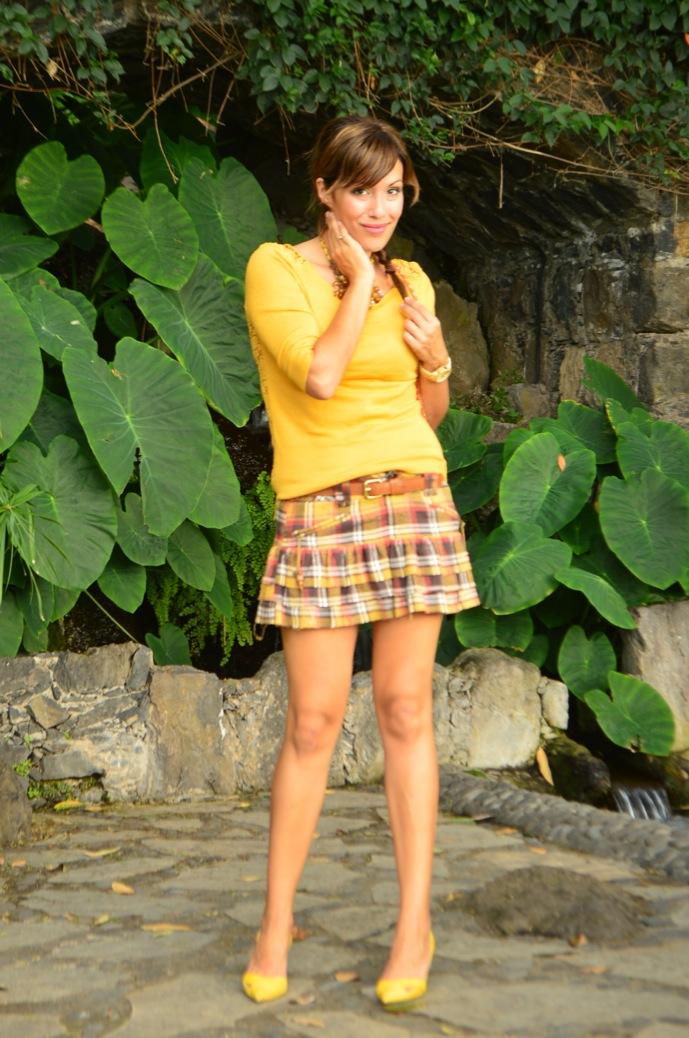 look falda cuadros amarillo jersey calado mostaza michael kors _0064