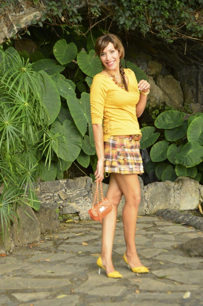 look falda cuadros amarillo jersey calado mostaza michael kors _0067