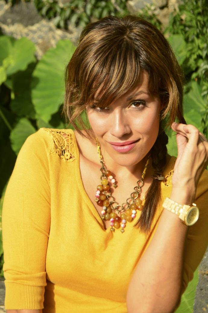 look falda cuadros amarillo jersey calado mostaza michael kors _0079