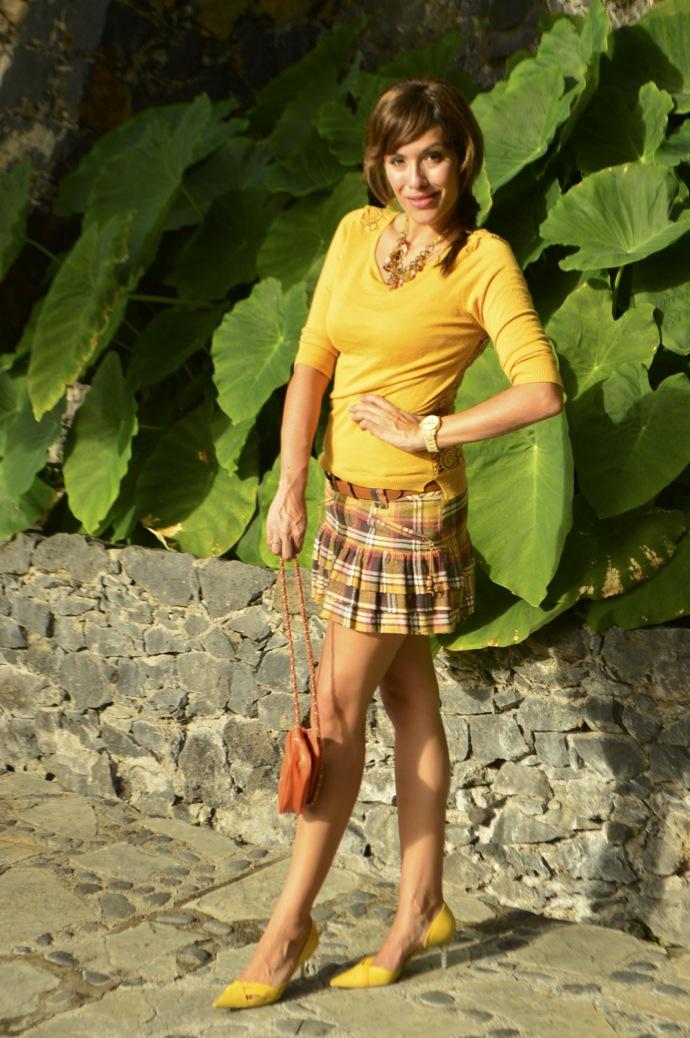 look falda cuadros amarillo jersey calado mostaza michael kors _0080