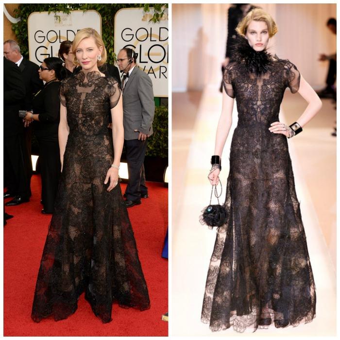 Cate Blanchett de Armani globos oro encaje negro