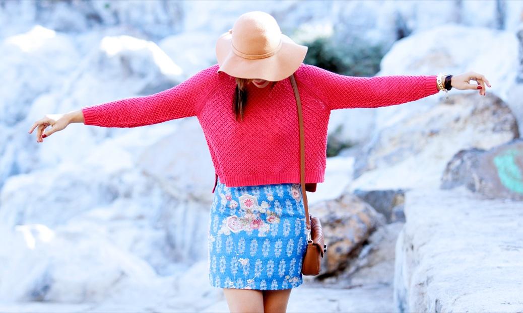 look falda tapicera crop top sombrero zapatoa azul bebe stradivarius9814p