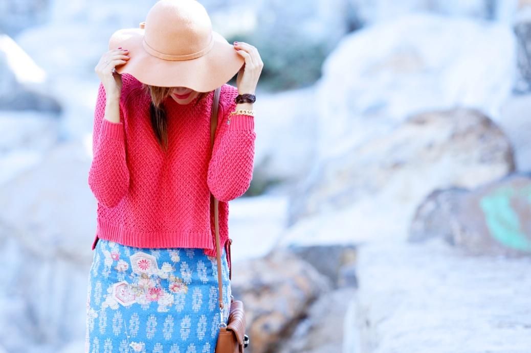 look falda tapicera crop top sombrero zapatoa azul bebe stradivarius9819p