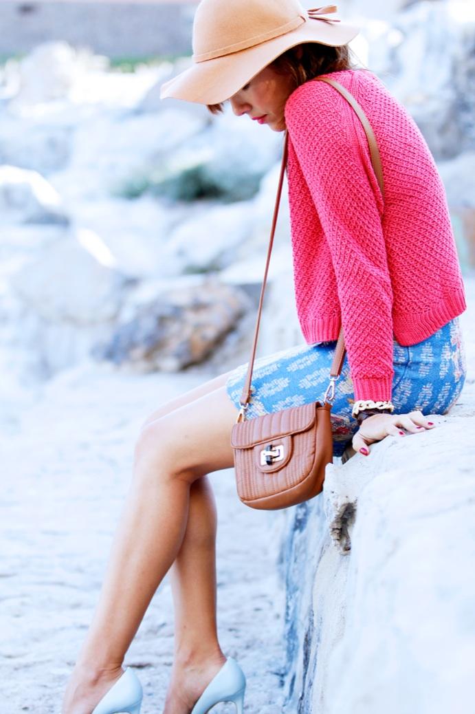 look falda tapicera crop top sombrero zapatoa azul bebe stradivarius9827p