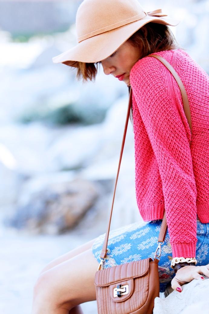 look falda tapicera crop top sombrero zapatoa azul bebe stradivarius9831p
