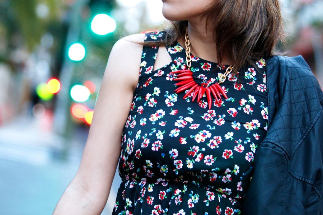 look vestido flores primark salones naranjas 0066p