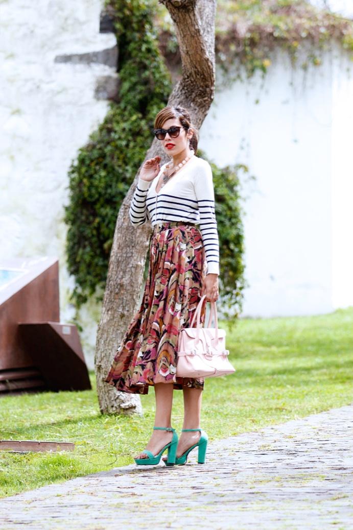 look falda midi vintage tablas jersey rayas 0710pr