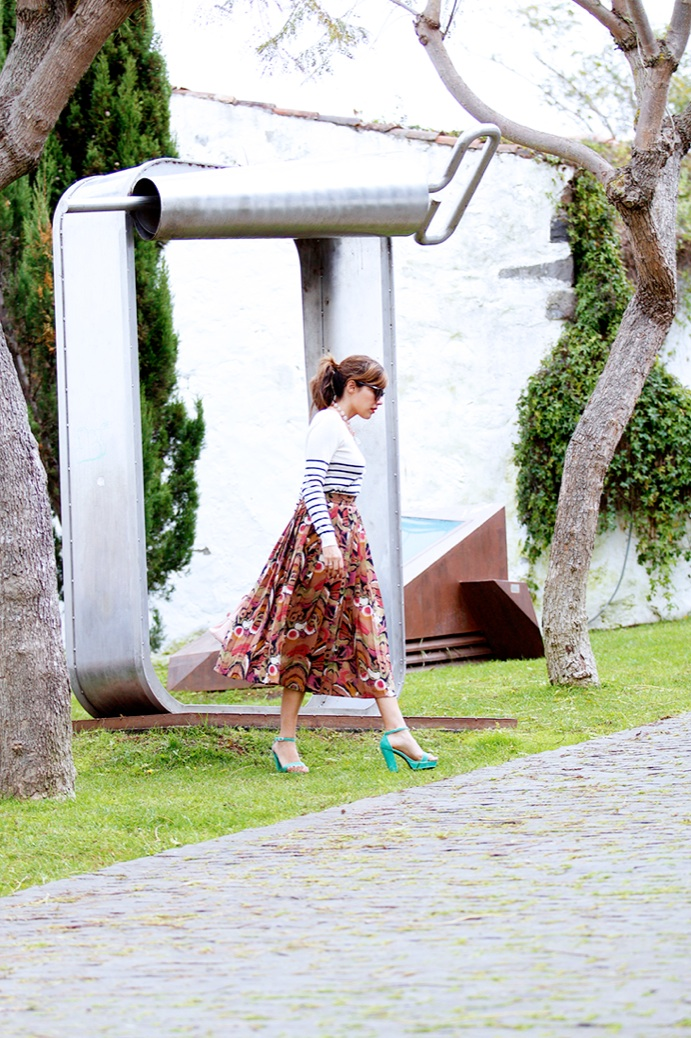 look falda midi vintage tablas jersey rayas 0725pr