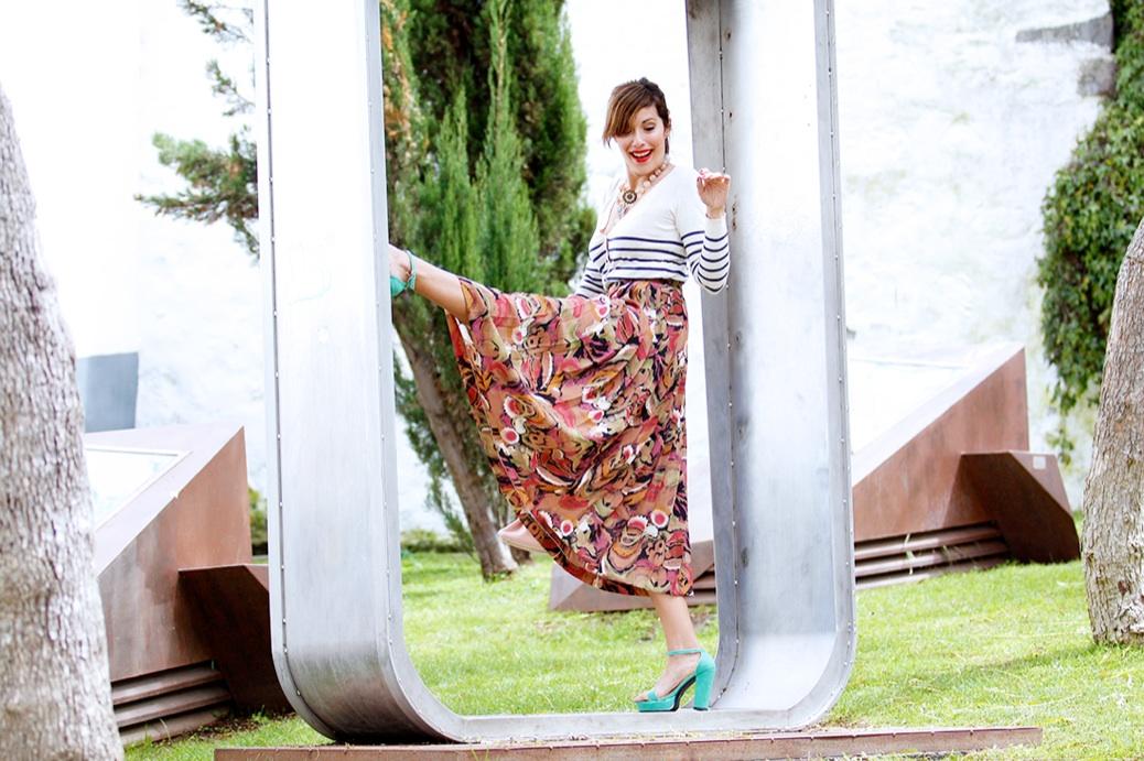 look falda midi vintage tablas jersey rayas 0753pr