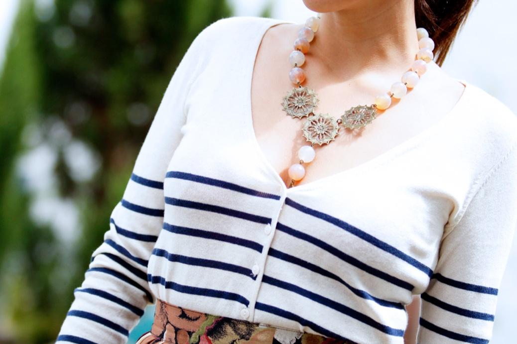 look falda midi vintage tablas jersey rayas 0779p