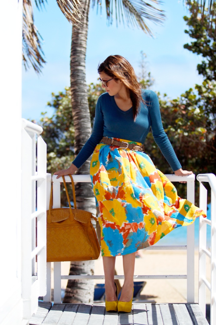 look falda midi vintage amarilla flores 1959pr