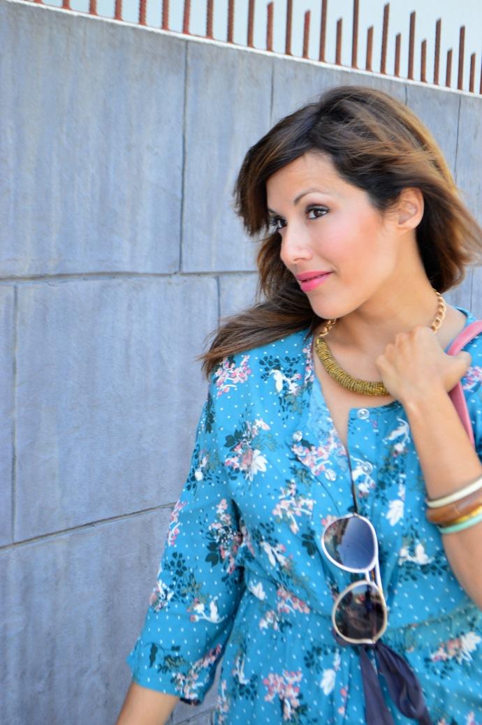 look vestido camisero azul floral individual  7