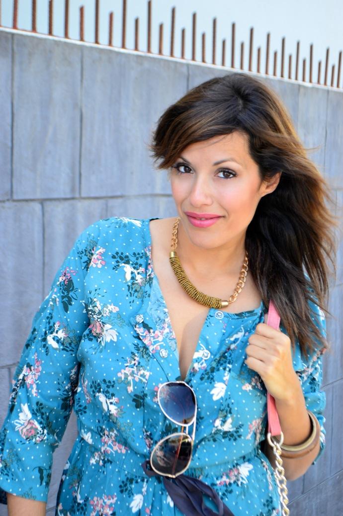 look vestido camisero azul floral individual  9