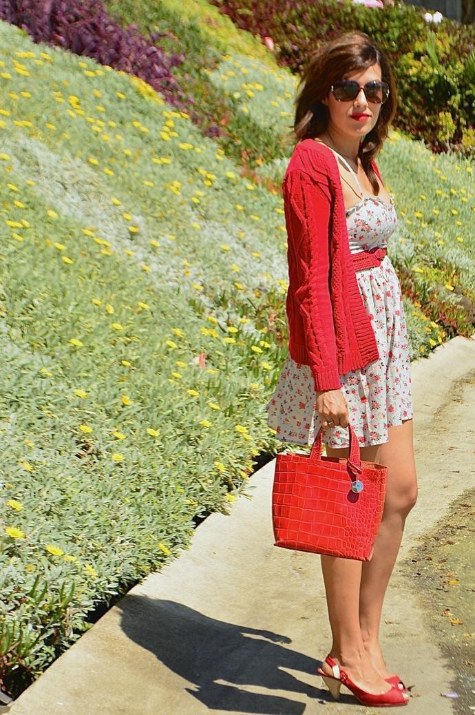 look vestido flores cardigan rojo hm mango 0789