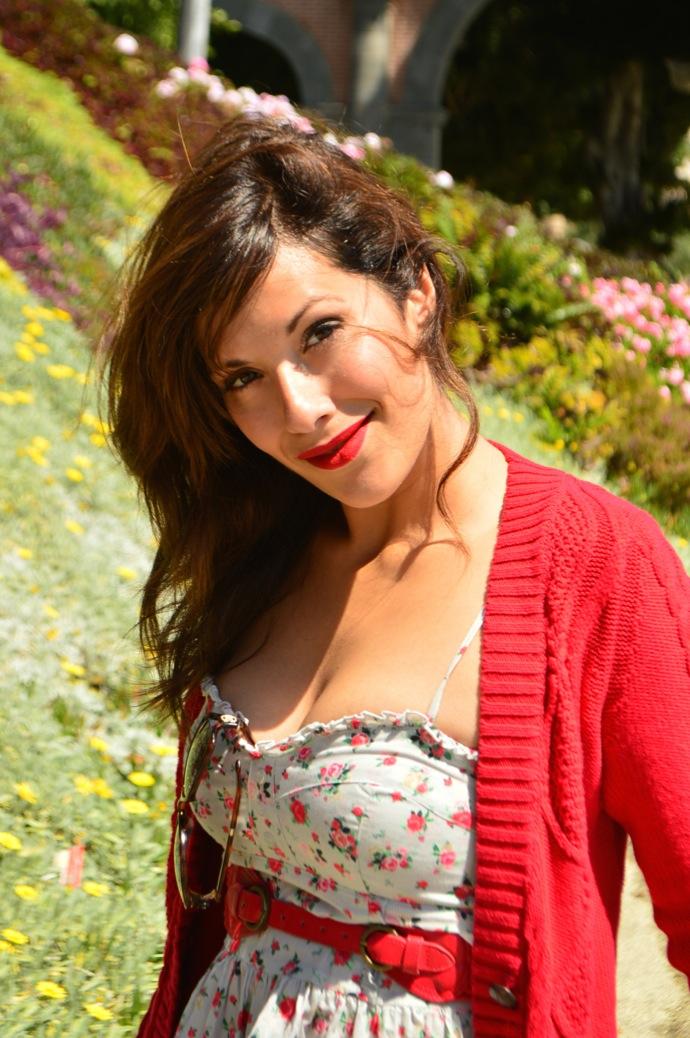 look vestido flores cardigan rojo hm mango 0801