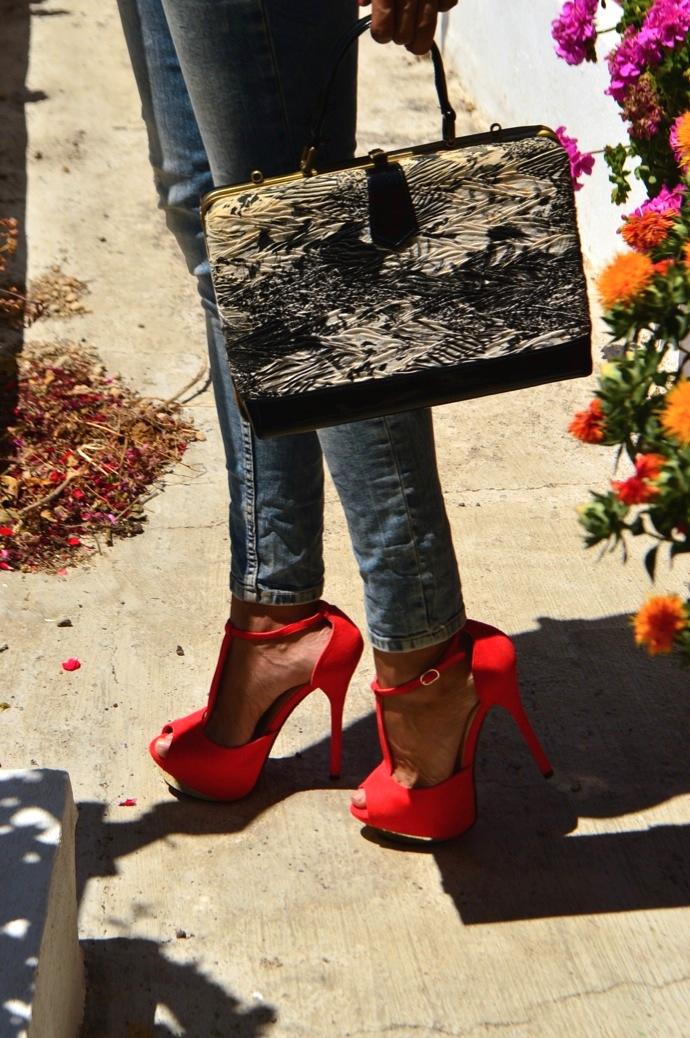 look vaquer ripped zapatos maxi tacon bolso vintage encaje  11