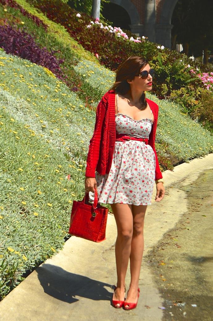 look vestido flores cardigan rojo hm mango 0790