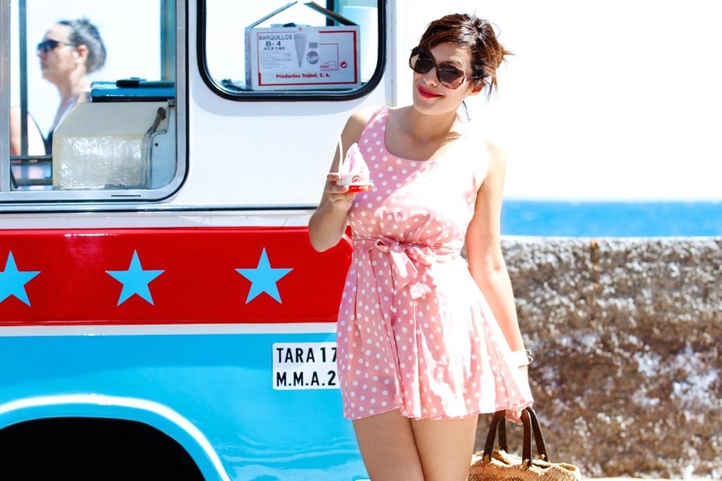 look mini vestido lunares rosa helado candy playa _2008pr