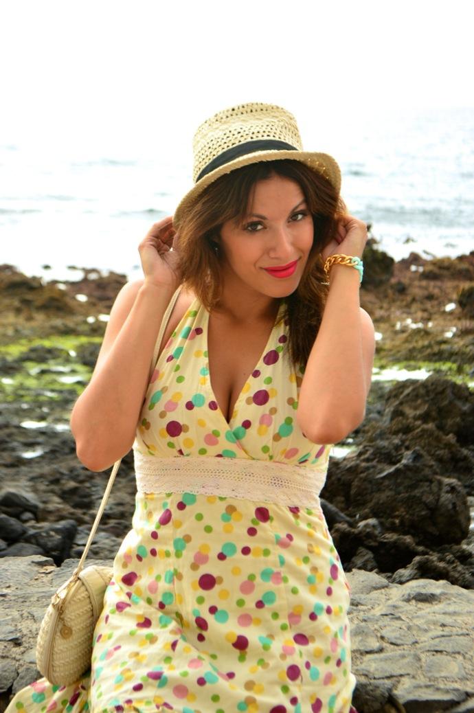 look vestido naif lunares sombrero colores boho 57.28