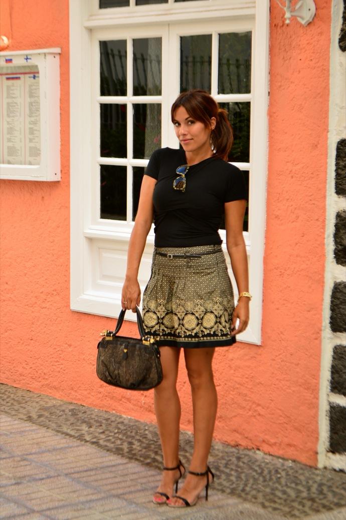 look falda brocado lady negro beig vintage 27.21