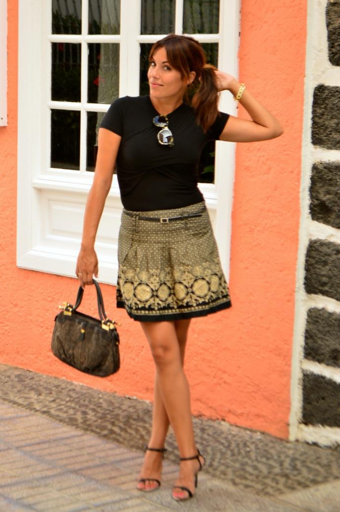 look falda brocado lady negro beig vintage 27.48