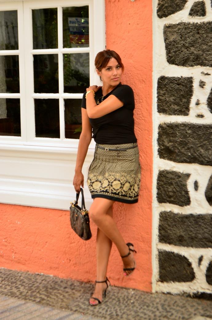 look falda brocado lady negro beig vintage 28.08