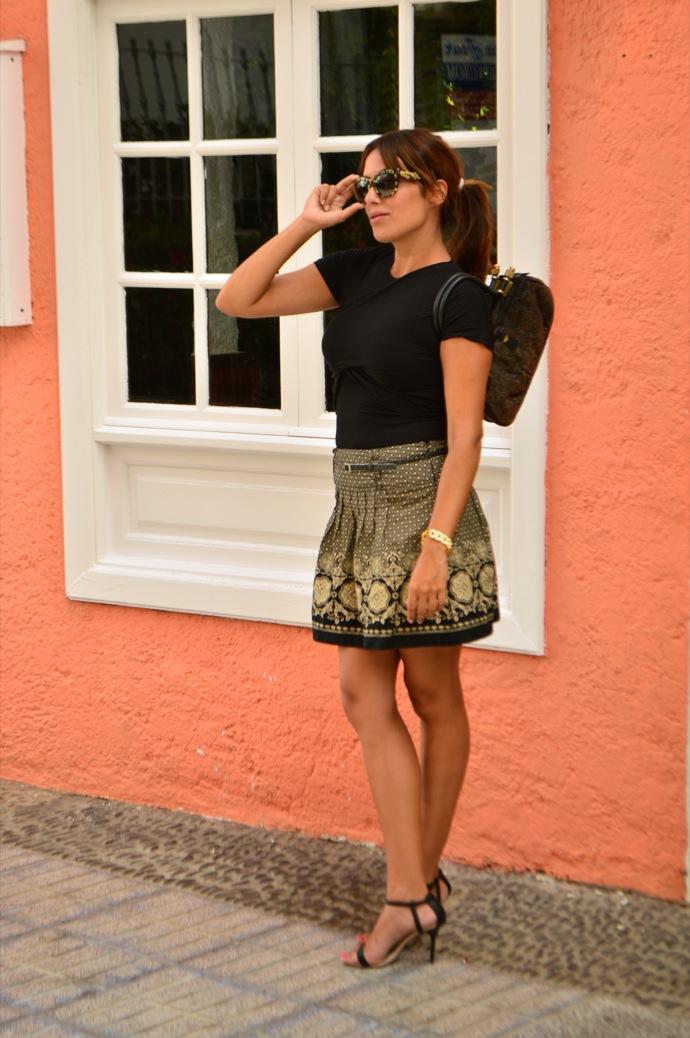 look falda brocado lady negro beig vintage 29.03