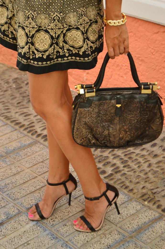 look falda brocado lady negro beig vintage 31.01