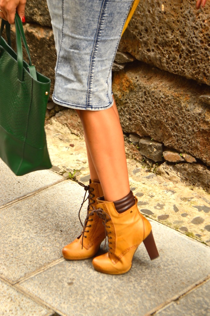 look mariamare falda tubo denim rayas botines naturales 0117