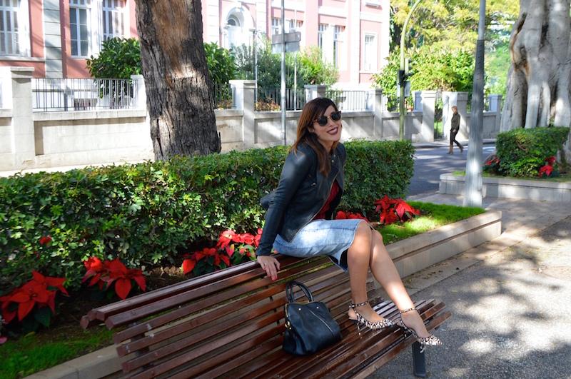 look jersey ochos rojo massimo dutti falda lapiz vaquera animal print 0114