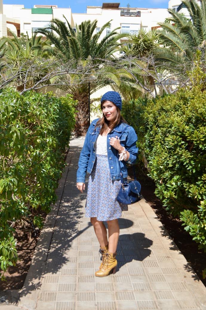 look falda azul gorro denim botin mariamare0033
